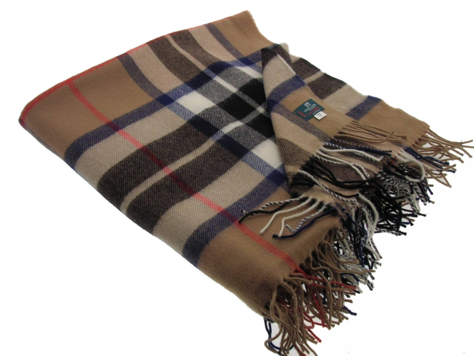 Thompson Camel Tartan Lambswool Blanket