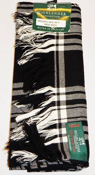 Menzies Black and White Tartan Sash Special