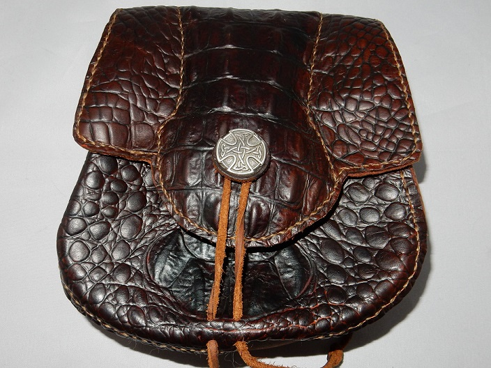 Celtic Leather Sporran | Crocodile-embossed