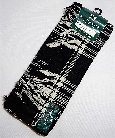 Menzies Clan Black and White Tartan Sash Special
