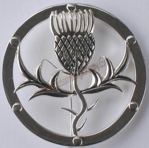 Scottish thistle round brooch