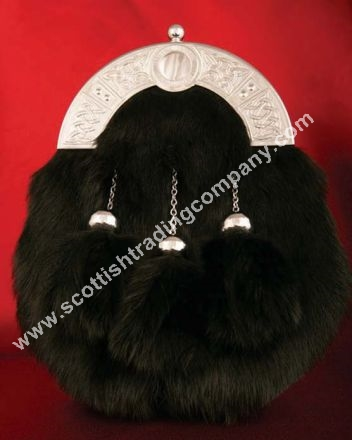 Celtic Knot Black Fur Sporran