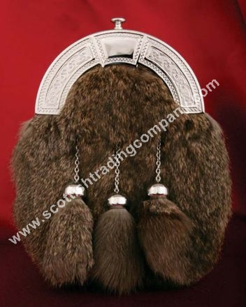 Celtic Knot Cantle Wild Rabbit Fur Sporran