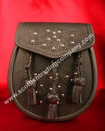 Celtic Embossed and Studded Leather Sporran