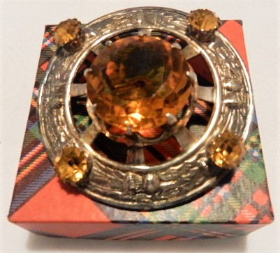 Vintage Scottish Thistle Topaz Plaid Brooch