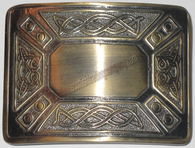 Antiqued Brass Kilt Belt Buckle