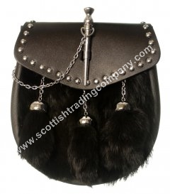 Basic Black Fur Thistle Pin Lock Sporran