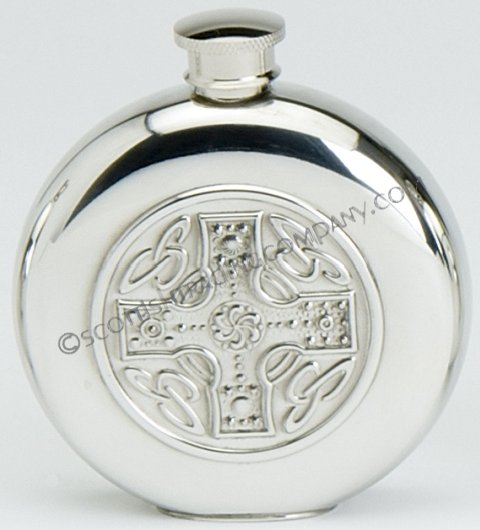Celtic Cross Round Flask with Insert