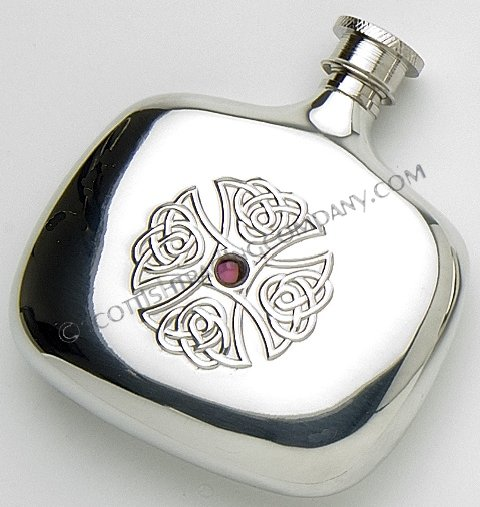 Celtic Cross Flask with Amethyst Center