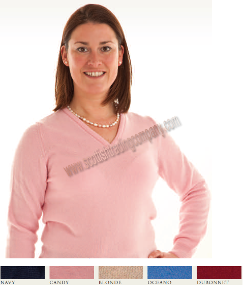 Ladies Lambswool Vee Neck Sweater
