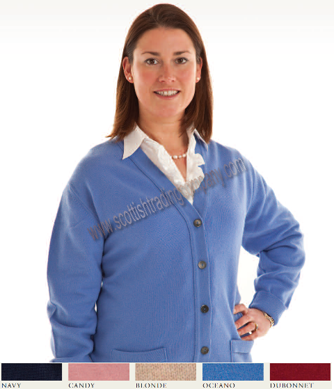 Ladies Lambswool Vee Neck Cardigan