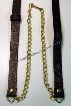 Black Leather Brass Chain Strap