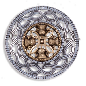 Antique Finish Celtic Knot with Thistle Brooch