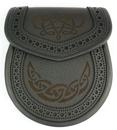 Celtic Knot Brouged Leather Sporran