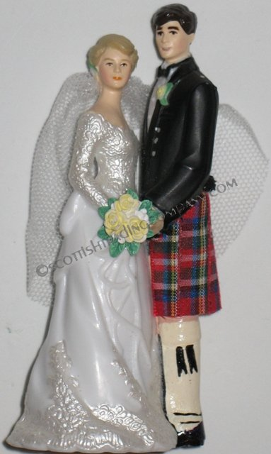 Scottish Wedding Cake Topper Facing Couple