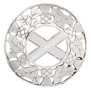 Scottish Thistle and Saltire Plaid Brooch