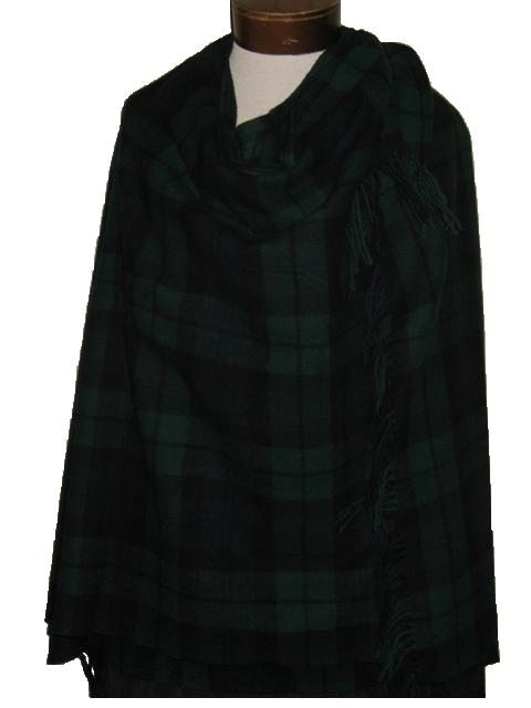 Lambswool Serape Cape in Black Watch Tartan