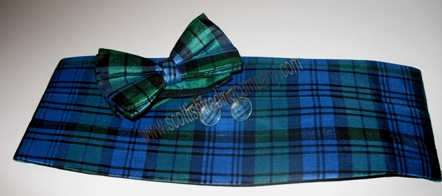 Silk Tartan Bow Tie, Cummerbund and Cuff Link Set