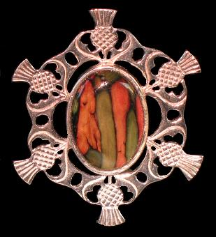 Heather Gem Six Thistle Brooch
