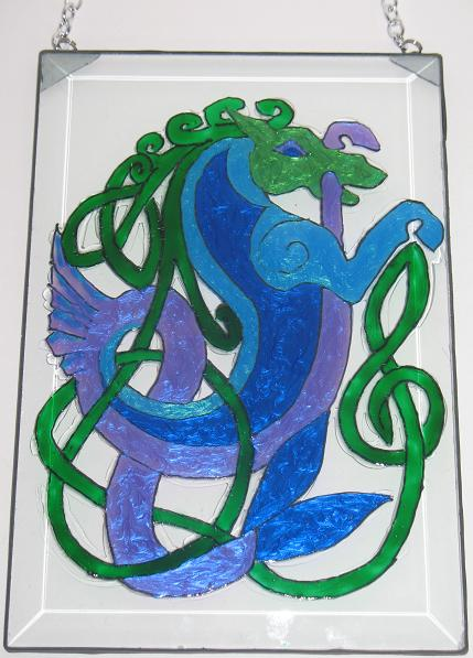 Celtic Sea Horse Sun Catcher in Blue