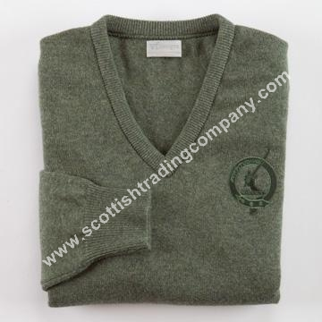 Scottish Clan Embroidered Vneck Sweater