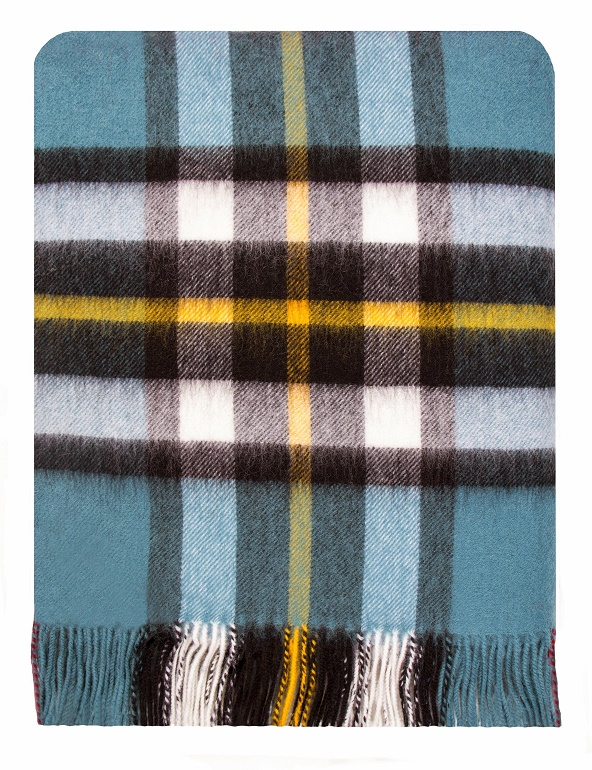 Thompson Blue Tartan Lambswool Blanket