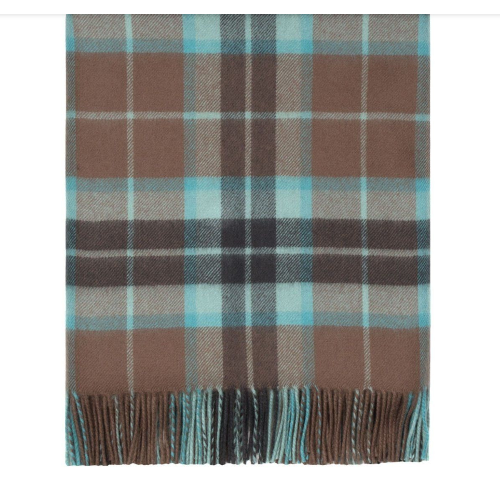 Thompson Brown Hunting Weathered Tartan Lambswool Blanket