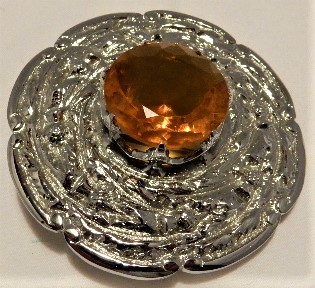 Vintage Scottish Topaz and Thitle Plaid Large Brooch