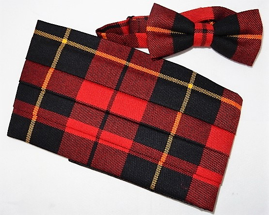 Wallace Red Modern Tartan Bow Tie and Cummerbund Set Special