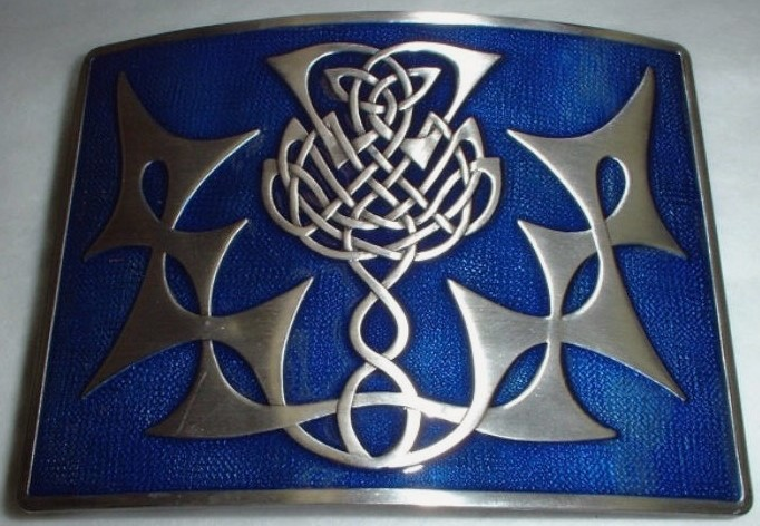 Highland Thistle Blue Enamel Kilt Belt Buckle