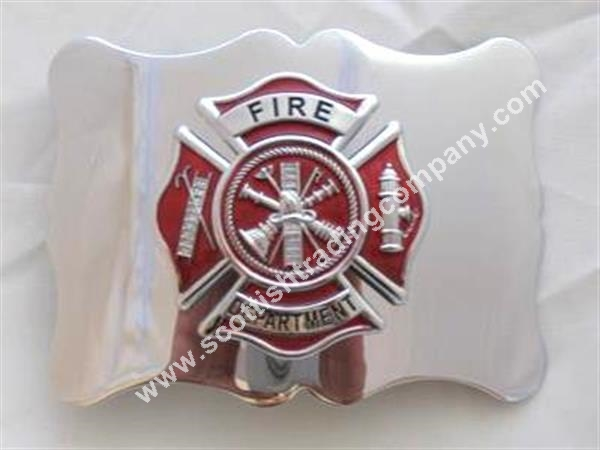 Fire Department Kilt Belt Buckle with Red