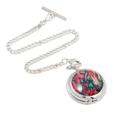 Heather Gem Face Mechanical Pocket Watch