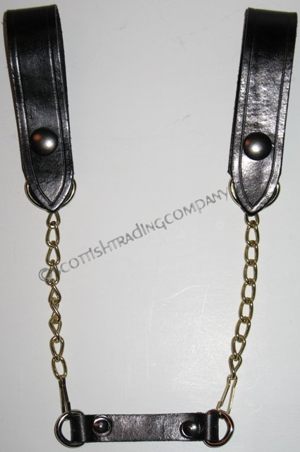 Sporran Suspenders Black with Brass Chain