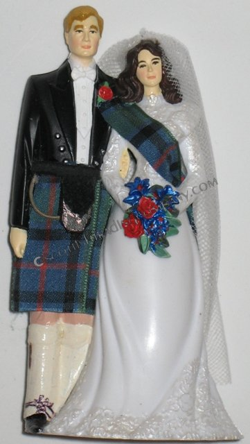 Custom Bride with Sash Scottish Wedding Cake Topper