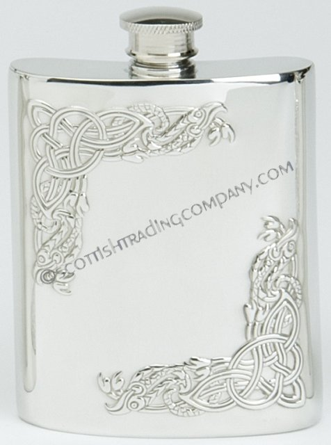 Celtic Serpent Corner Flask