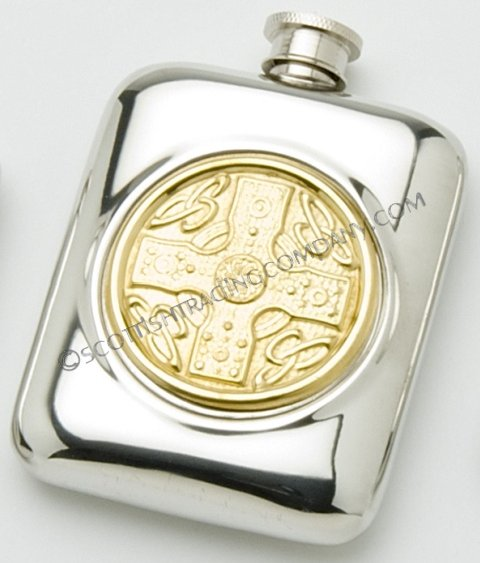 Celtic Cross Flask with Brass Insert