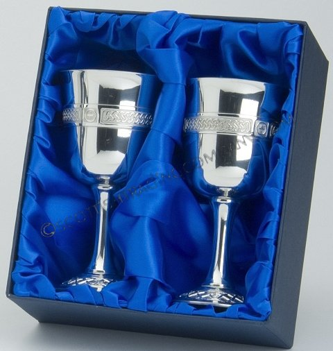 "Celtic Goblet Chalice 6"" set of 2 in Presentation Box"