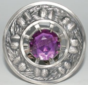 Thistle Plaid Brooch with Purple Stone