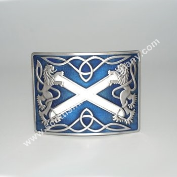 Highland Saltire Blue Enamel Kilt Belt Buckle