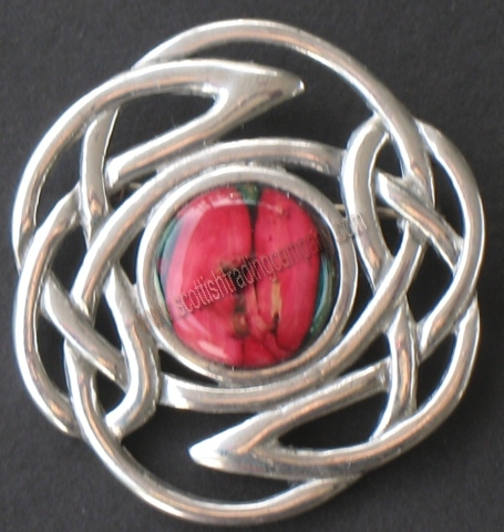 Heather Gem Celtic Knot Brooch