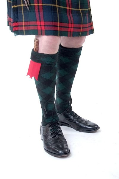 Tartan Green and Black Diced Kilt Hose