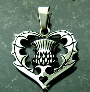 Scottish Heart Thistle Pendant