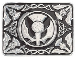 Black Enameled Thistle Kilt Belt Buckle