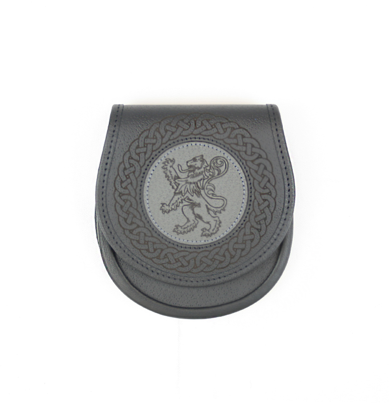Classic Jacobite Lion Rampant Leather Sporran