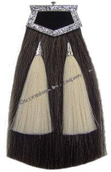 Grey Horsehair Sporran with White Tassels