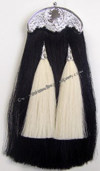 Black Horsehair Sporran with White