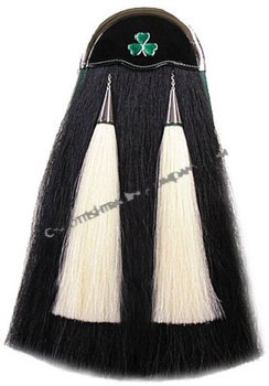 Black Horsehair Sporran with Shamrock