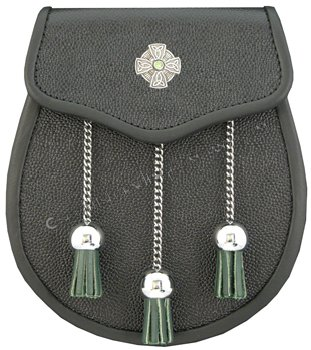 Sporran Leather with Celtic Cross Green Accents