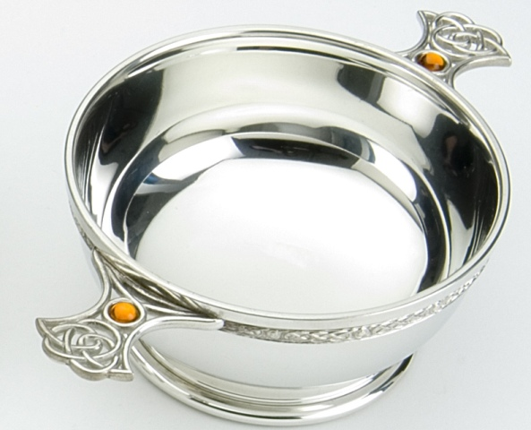 Celtic Knot Handle Quaich with Topaz