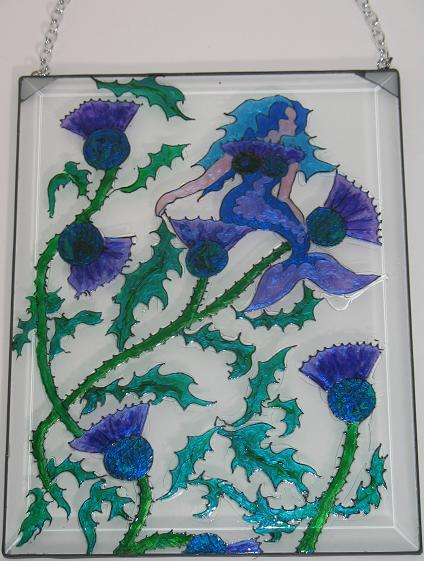 Sun Catcher with Thistles and Hidden Mermaid